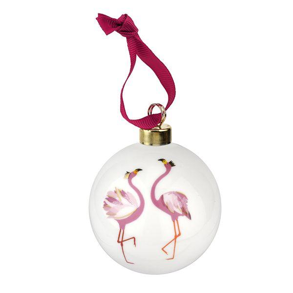 Sara Miller Ceramic Flamingo Christmas Decoration