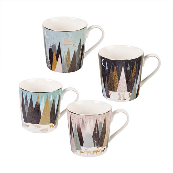 Sara Miller Frosted Pines Collection Set of 4 Mugs