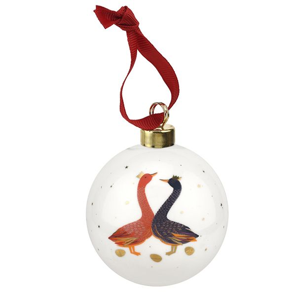 Sara Miller Ceramic Geese Red & Blue Christmas Decoration