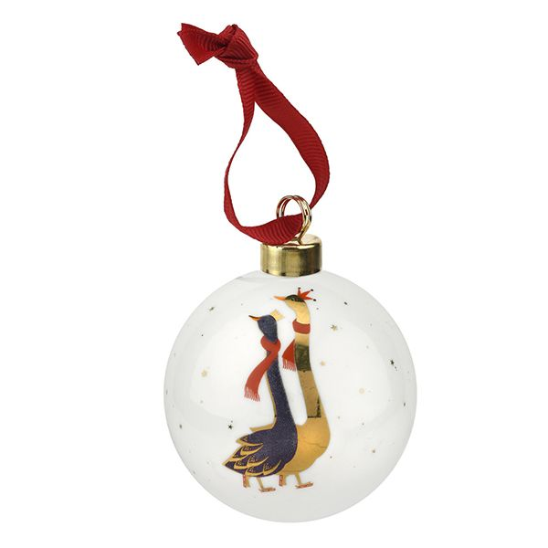 Sara Miller Ceramic Geese Skating Geese Christmas Decoration
