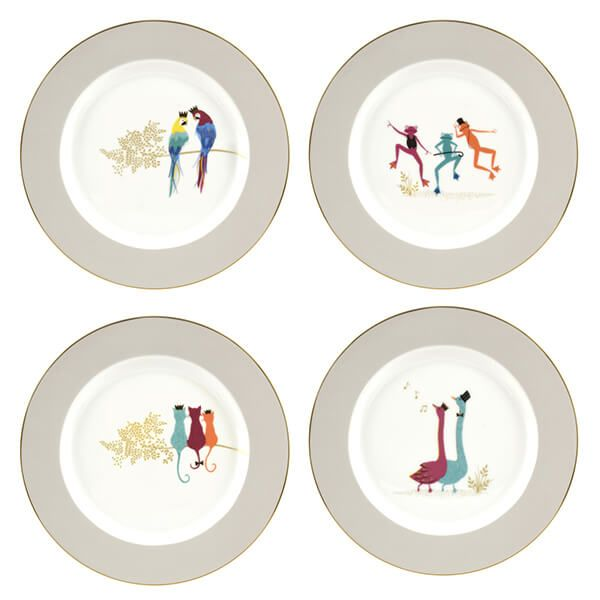 Sara Miller Piccadilly Collection Set of 4 Cake Plates Range II