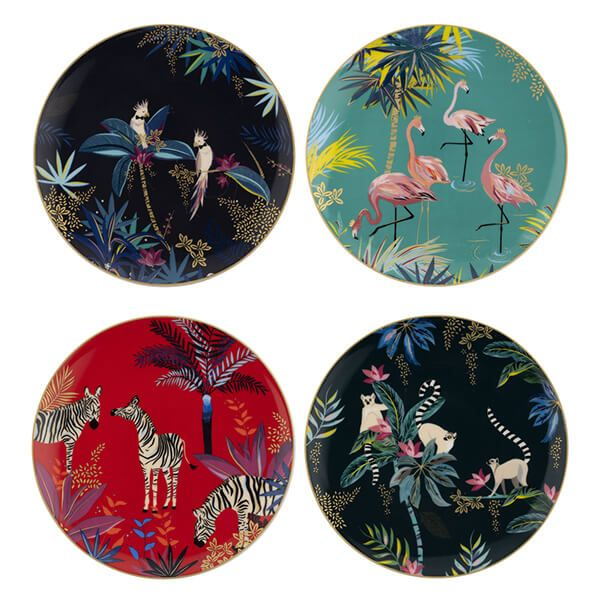 Sara Miller Tahiti Set of 4 Assorted Side Plates