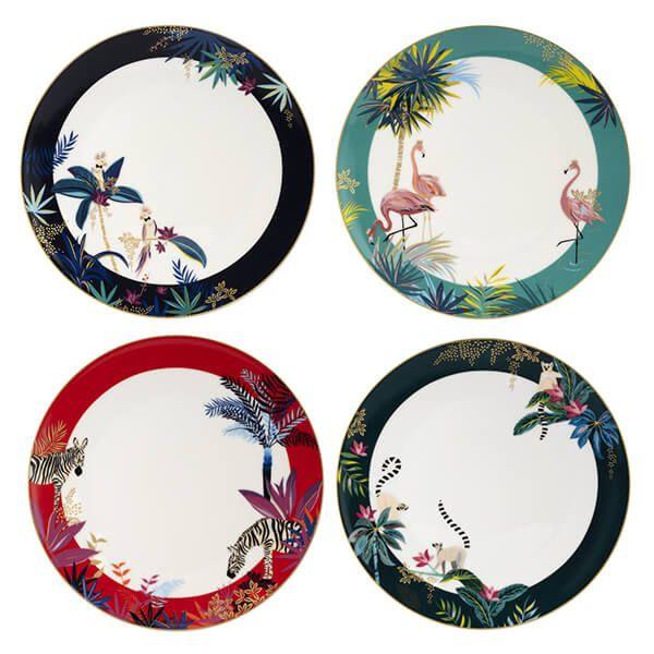Sara Miller Tahiti Set of 4 Assorted Dinner Plates