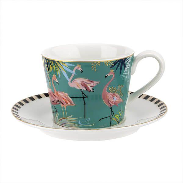 Sara Miller Tahiti Flamingo Teacup & Saucer