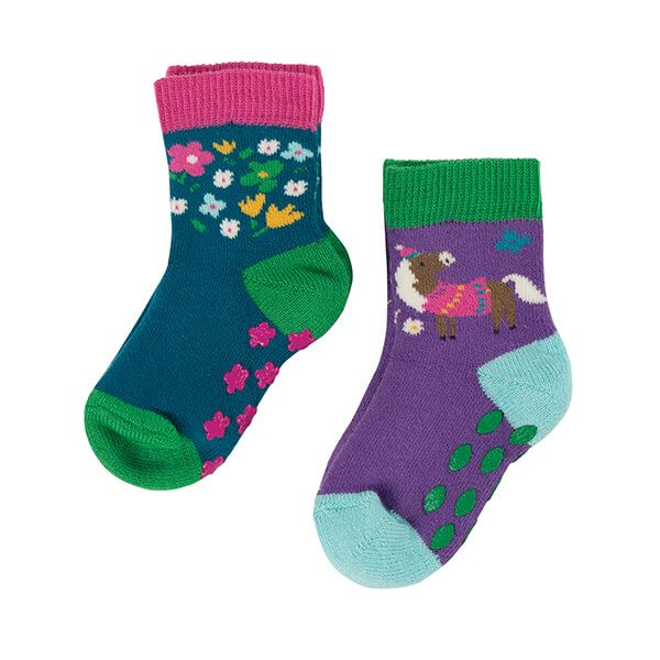 Frugi Organic Pack of 2 Horse Grippy Socks
