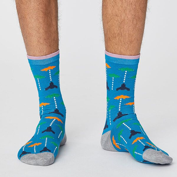 Thought Bright Blue Gaming Socks Size 7-11
