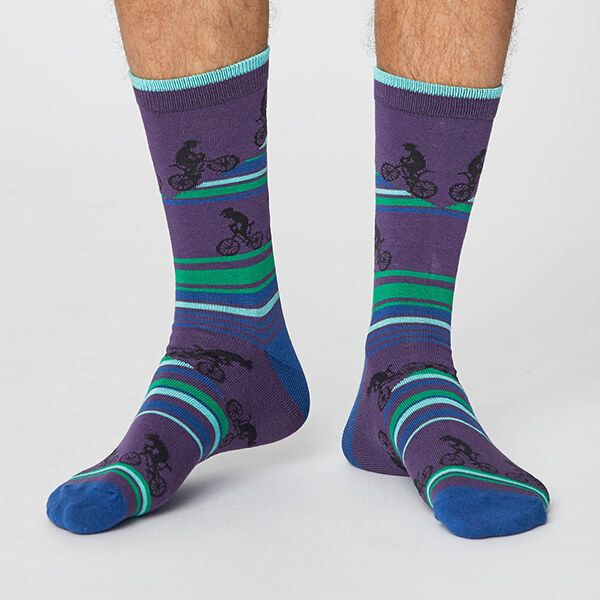 Thought Plum Uphill Bicycle Socks Size 7-11