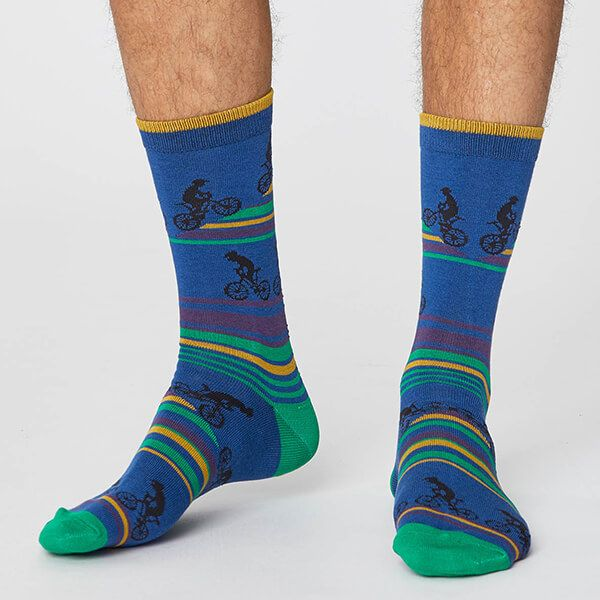 Thought Royal Blue Uphill Bicycle Socks Size 7-11
