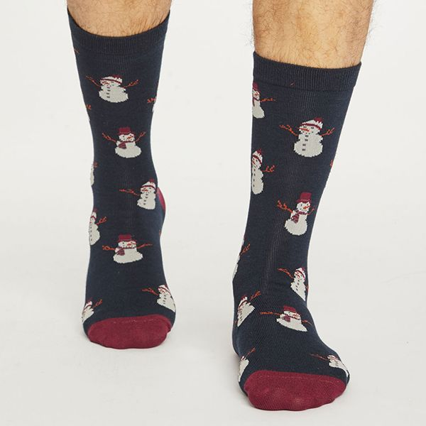 Thought Midnight Navy Snowman Socks
