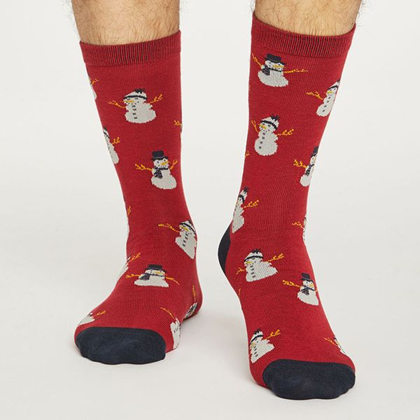 Thought Pillarbox Red Snowman Socks