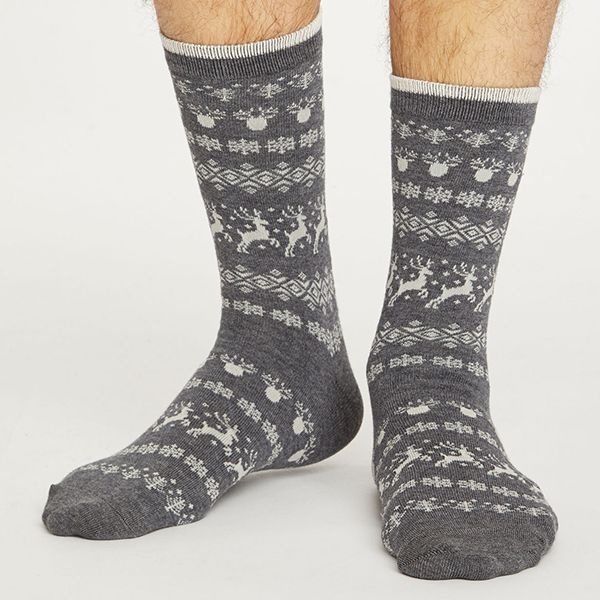 Thought Dark Grey Marle Reindeer Socks
