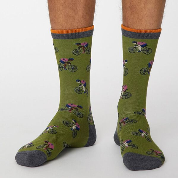 Thought Olive Green Garra De Bici Socks