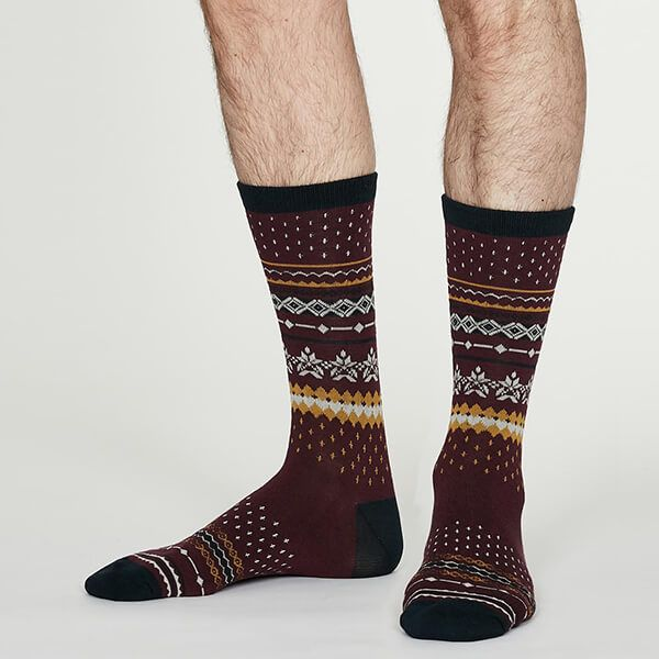 Thought Aubergine Reginald Bamboo Christmas Pattern Socks