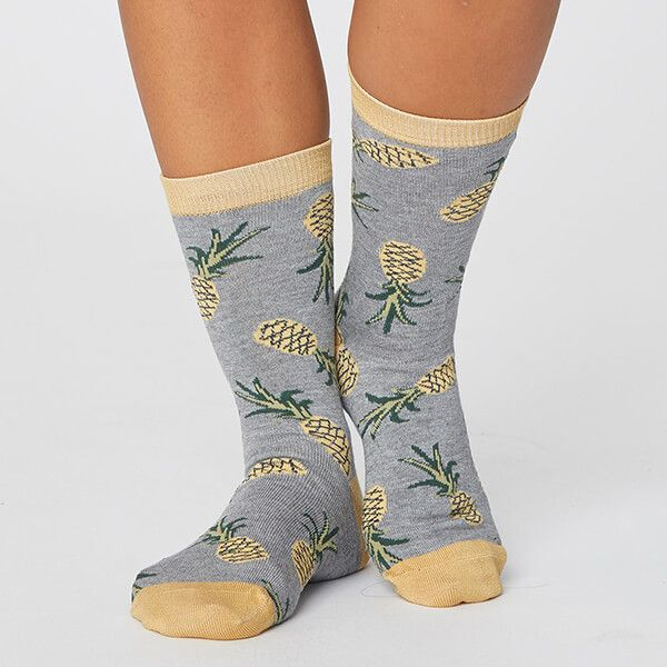 Thought Mid Grey Marle Womens Bamboo Pineapple Socks Size 4-7