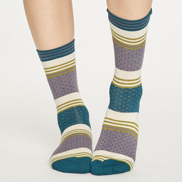 Thought Slate Grey Dotty Stripe Socks Size 4-7