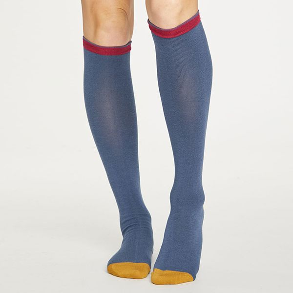 Thought Blue Slate Colour Block Below The Knee Socks