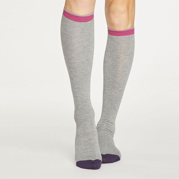 Thought Grey Marle Colour Block Below The Knee Socks