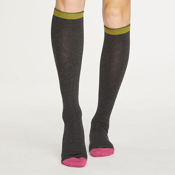 Thought Raven Grey Colour Block Below The Knee Socks