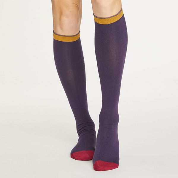 Thought Royal Purple Colour Block Below The Knee Socks