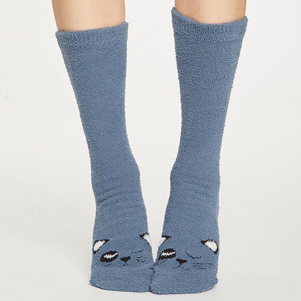 Thought Blue Slate Fuzzy Animal Socks