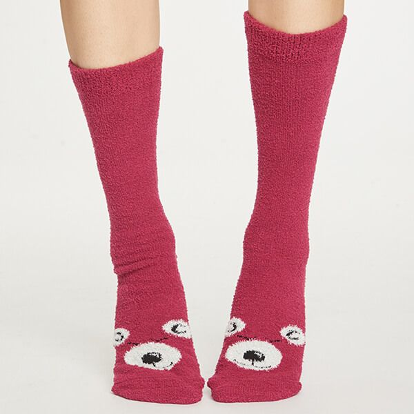 Thought Cranberry Fuzzy Animal Socks