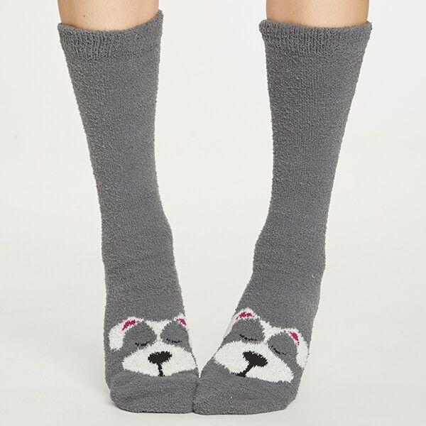 Thought Raven Grey Fuzzy Animal Socks