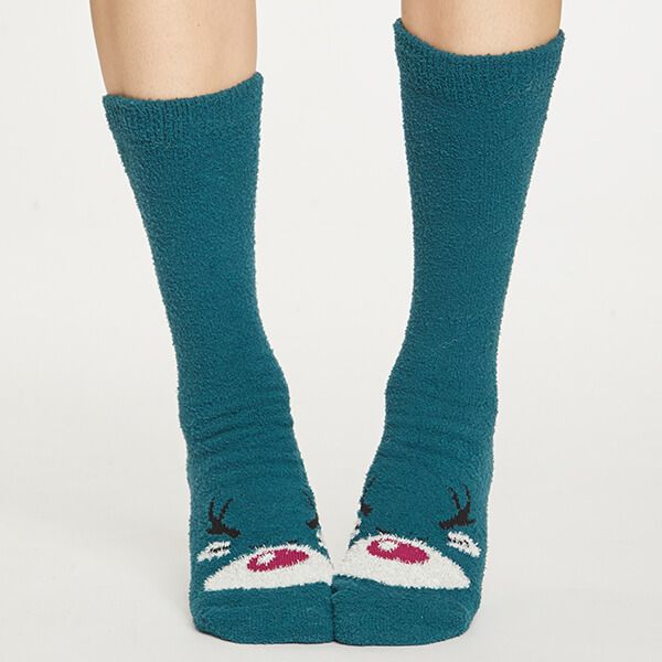 Thought Teal Blue Fuzzy Animal Socks