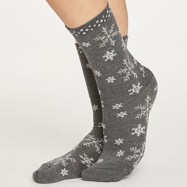 Thought Dark Grey Marle Snowflake Socks