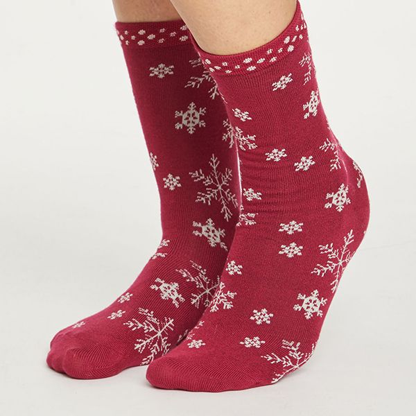 Thought Redcurrant Snowflake Socks