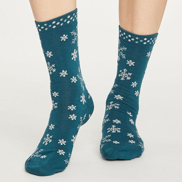 Thought Teal Blue Snowflake Socks