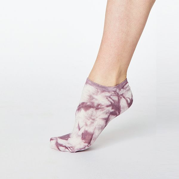 Thought Tulip Purple Tie Dye Bamboo Trainer Socks