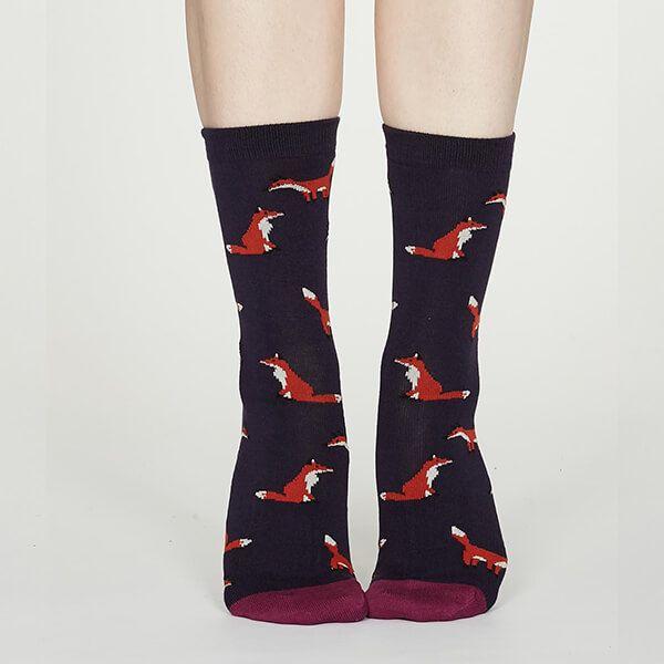 Thought Royal Purple Foxy Bamboo Fox Socks