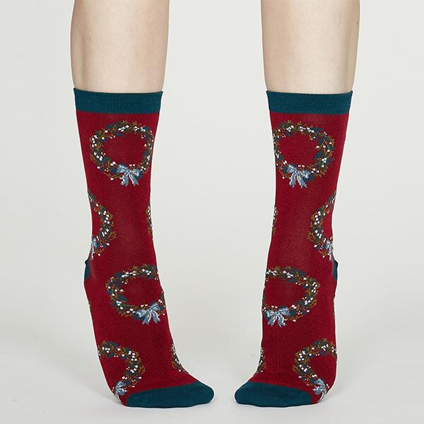 Thought Berry Red Adella Bamboo Christmas Wreath Socks
