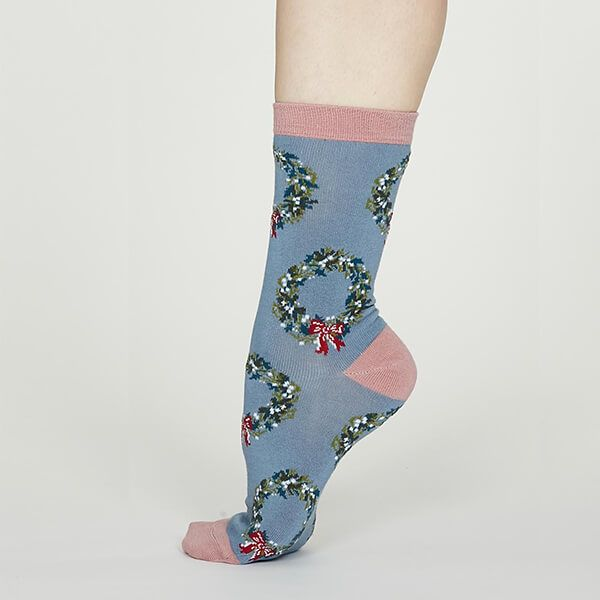 Thought Powder Blue Adella Bamboo Christmas Wreath Socks