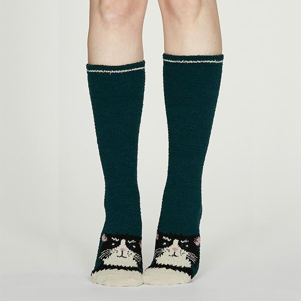 Thought Teal Blue Rebecca Fuzzy Socks
