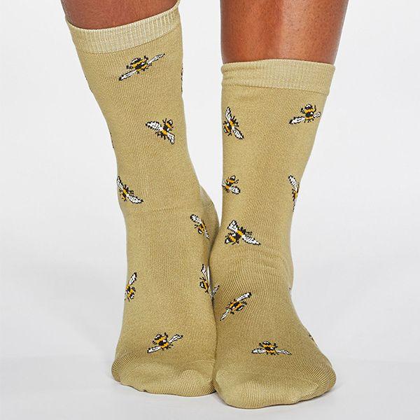 Thought Pear Green Rhoda Bee Bamboo Organic Cotton Blend Socks