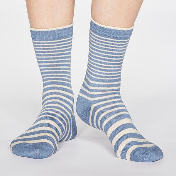 Thought Powder Blue Jacinda Stripe Socks