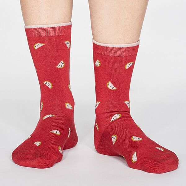 Thought Coral Red Rowena Fruit Socks