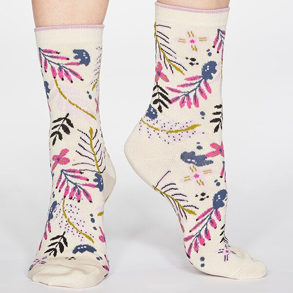 Thought Cream Nelly Floral Socks