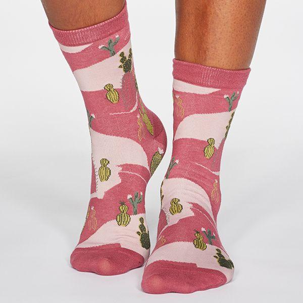 Thought Dark Rose Pink Ettie Cactus Print Organic Cotton Socks