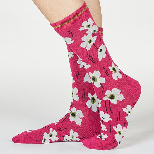 Thought Magenta Pink Peggie Floral Socks