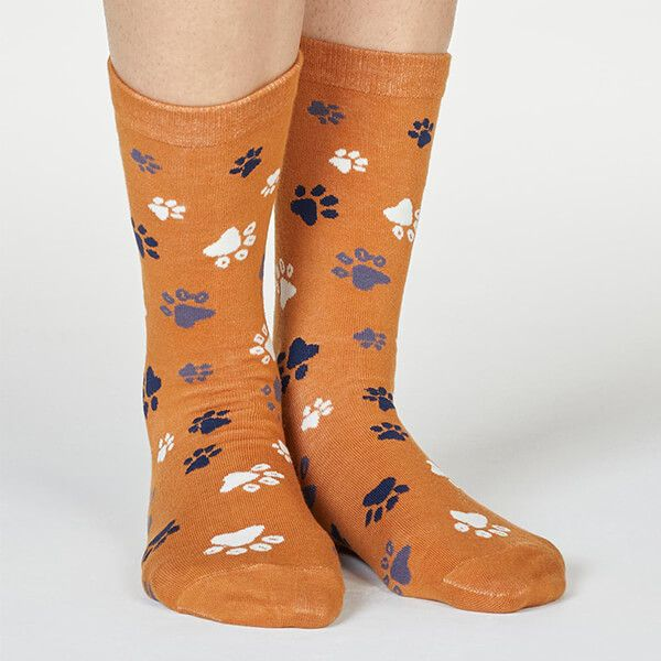 Thought Amber Yellow Elsa Paw Print Socks