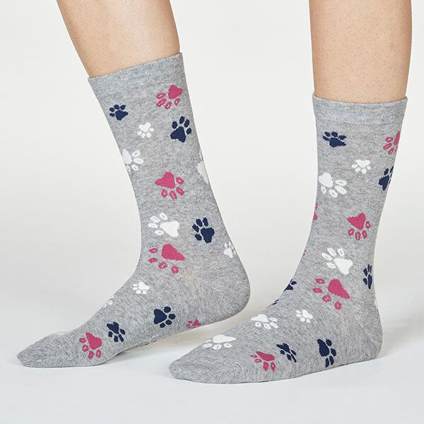 Thought Grey Marle Elsa Paw Print Socks