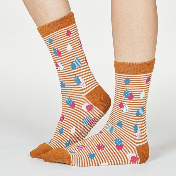 Thought Amber Yellow Juliette Raindrop Socks