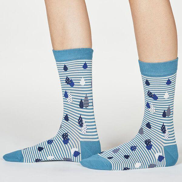 Thought River Blue Juliette Raindrop Socks