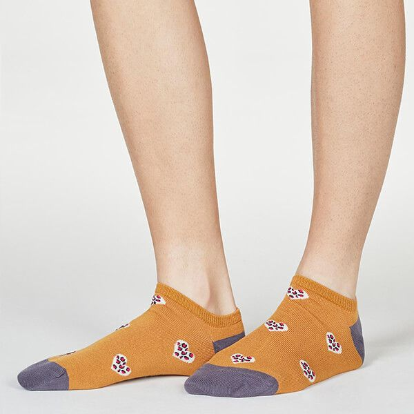 Thought Amber Yellow Lily Leopard Heart Socks