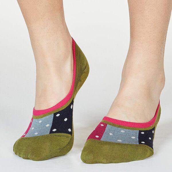 Thought Olive Green Nita Spot No-Show Socks