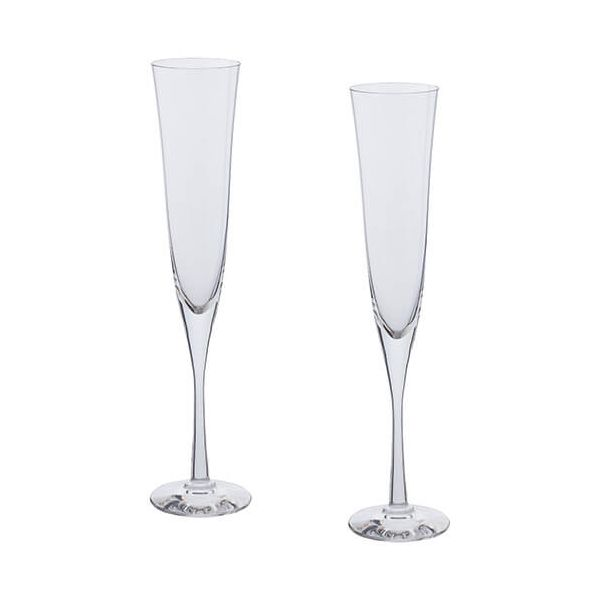 Dartington Bar Excellence Lead Crystal Set Of 2 Celebration Flutes