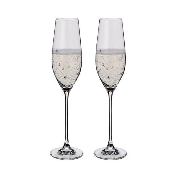 Dartington Glitz Swarovski Elements Set Of 2 Flutes
