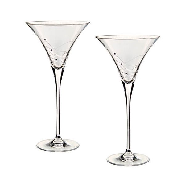 Dartington Glitz Swarovski Elements Set Of 2 Martini Glasses